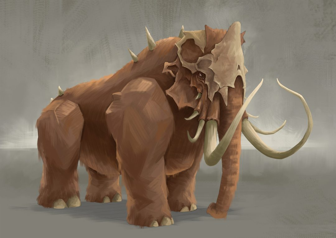 Digital painting of a fantastical Woolly Mammoth, which Ogres wrestle