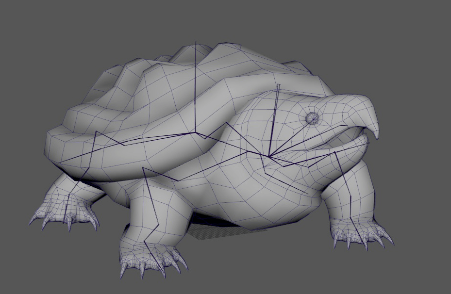 Grayscale model of a snapping turtle with its rig showing