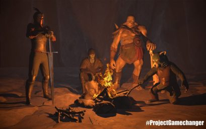 3D render scene of 4 fantasy characters round a campfire