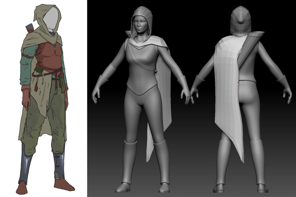 3D models of human Ranger next to concept sketch