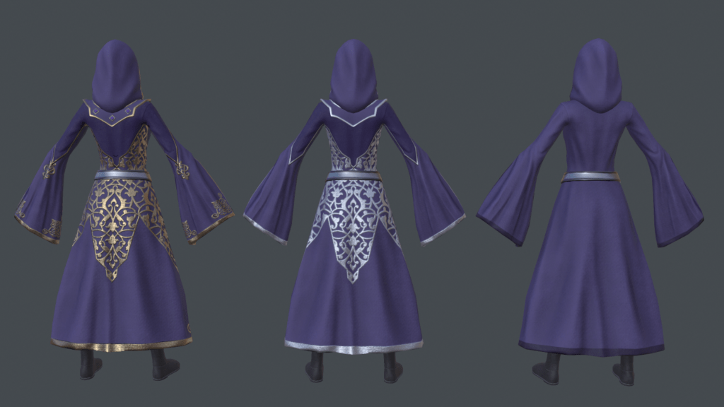 A back shot of 3 finished Sorceress models, each wearing a slightly different robe