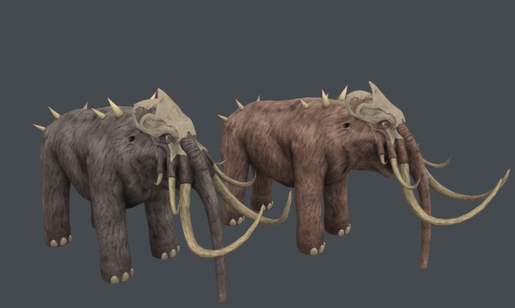 Two fully textured models of Mammoths from Depths of Erendorn. One is greyer than the other.