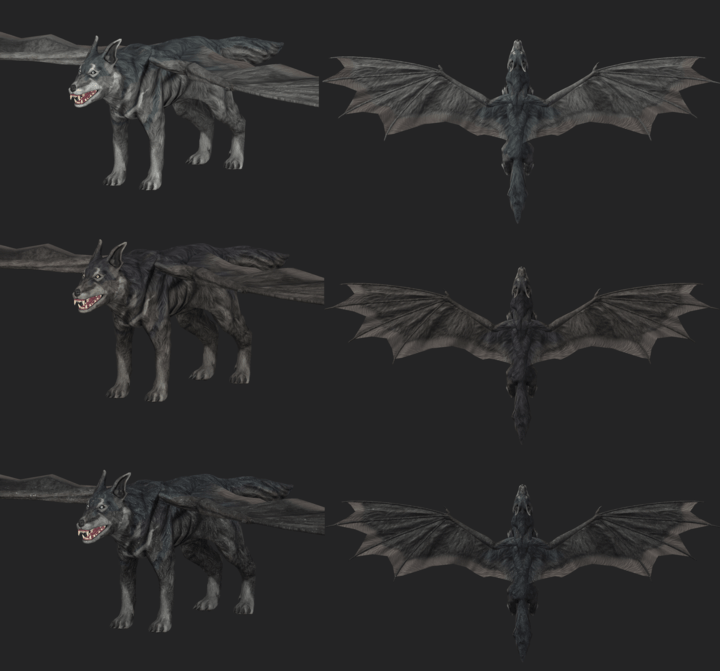 Screenshot from ZBrush showing the three colour variants of Skyhounds from Depths of Erendorn