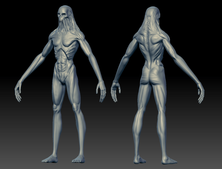 Front and back shot of the finished Ghoul sculpt in ZBrush