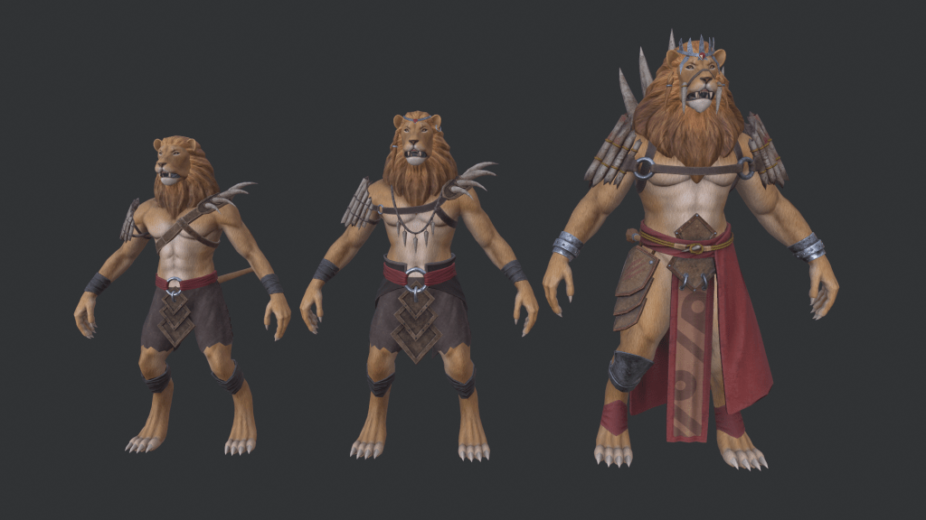 Lineup in ZBrush of 3 textured Lionmen models in ascending sizes, wearing clothing and armour