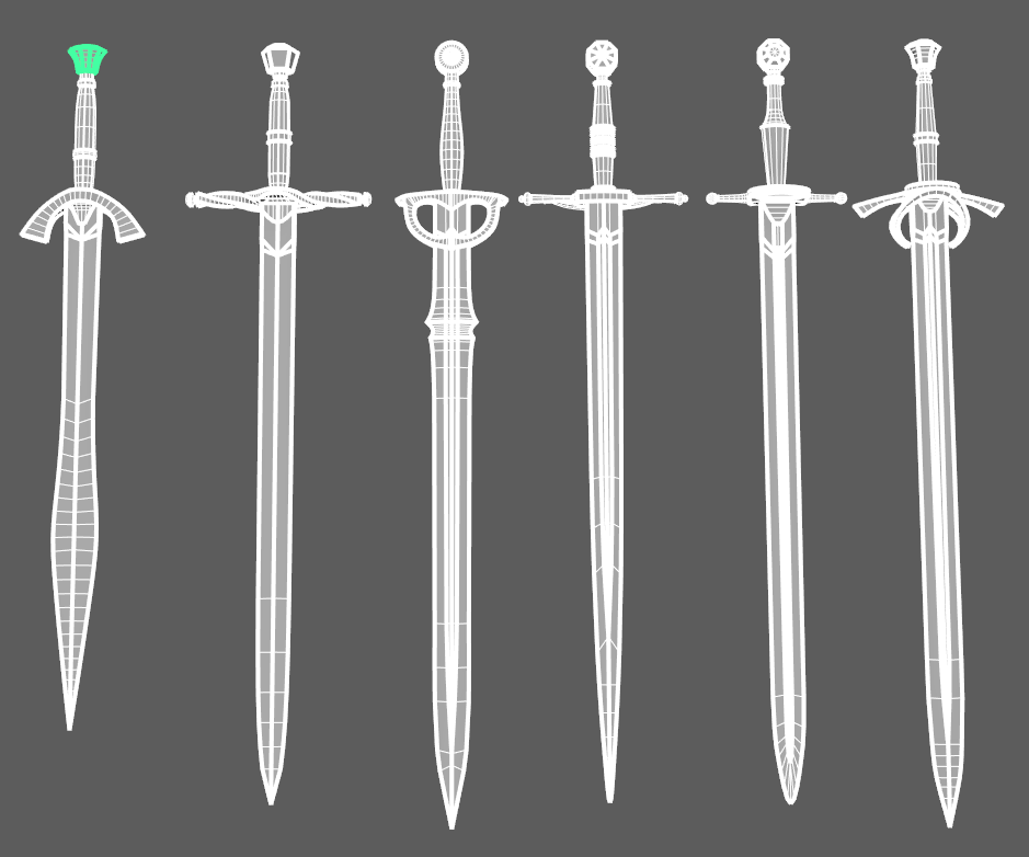 Wireframe meshes of 6 swords
