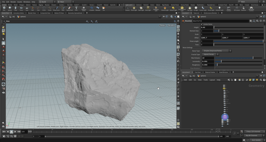 Screenshot showing a procedural rock generator tool
