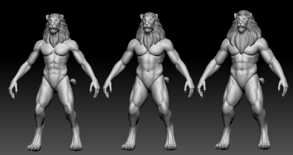 3 ascending sizes of Lionmen base meshes in ZBrush with manes