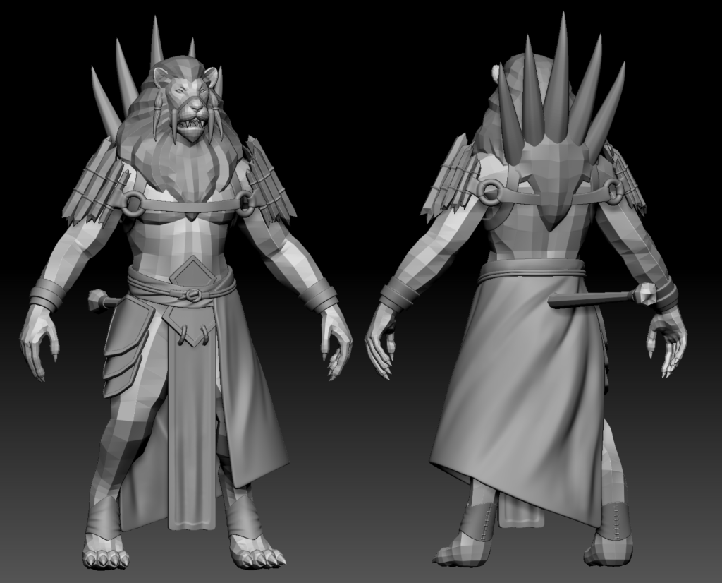 Low poly model of the Lionmen's Tribal Leader