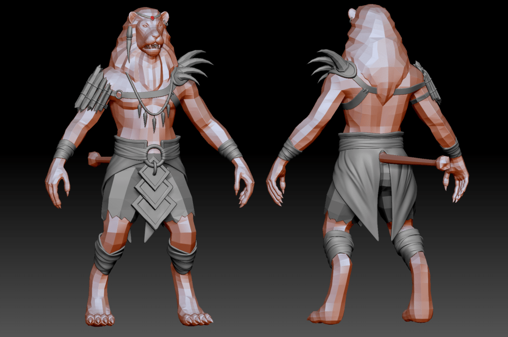 Front and back of a Proven Lionman low poly mesh in ZBrush with creases in its skirt