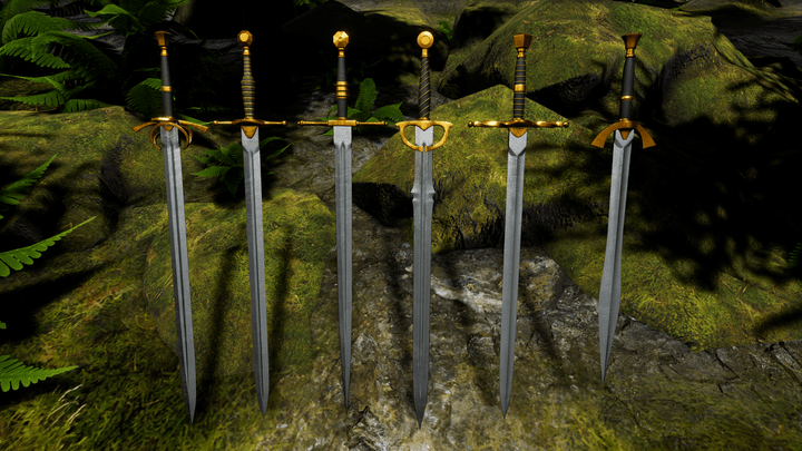 6 models of swords leaning against mossy rocks