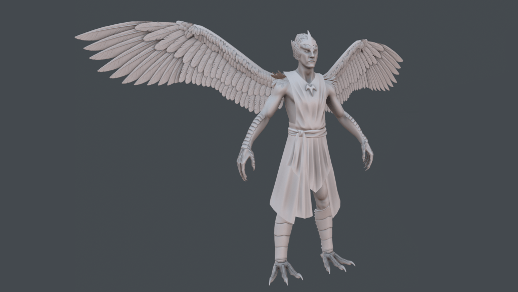Completed, baked sculpt of Daggerclaw Harpy