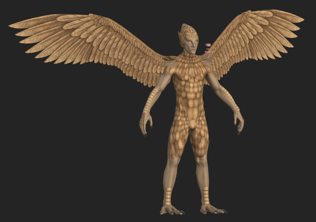 Textured base mesh of Daggerclaw Harpy from Depths of Erendorn