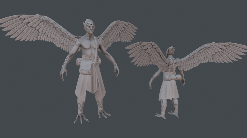 Baked sculpt of Daggerclaw Harpy Wanderer in ZBrush