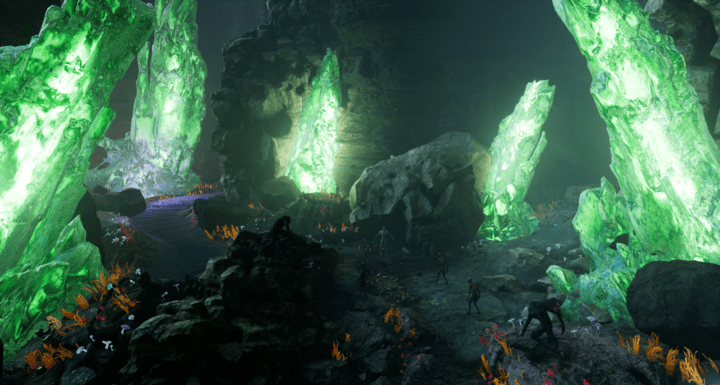 Green glowing crystals in a cave dungeon, made in UE4