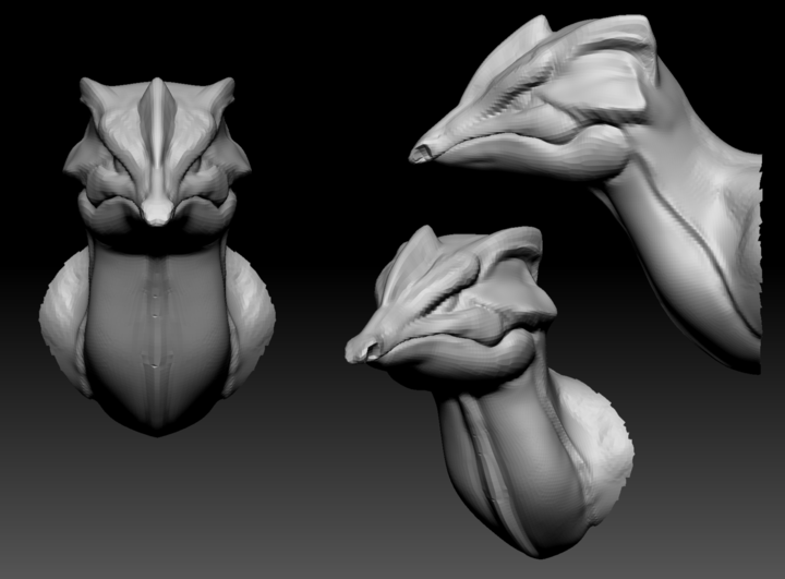 Blockout of Lizard head in ZBrush