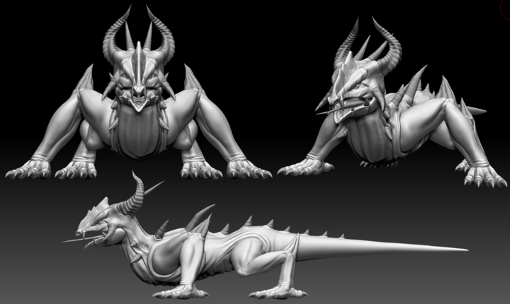 ZBrush sculpt of Spiny Lizard from Depths of Erendorn