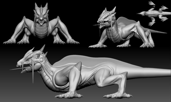ZBrush sculpt of a Swamp Lizard from Depths of Erendorn