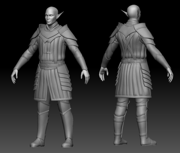 Finished ZBrush sculpt of Storm Elf Warrior from Depths of Erendorn