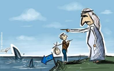 Migration cartoon by Palestinian Artist Mahmoud Abbas
