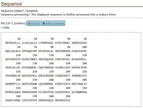 showing FASTA format on protein sequence entry