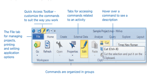Nvivo's interface and its toolbar for ribbon