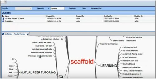 showing the results for the text query in Nvivo