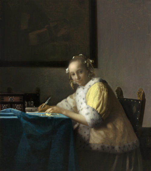 paint of a lady writing