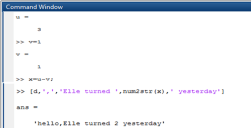 process of converting the numeric value to string in matlab