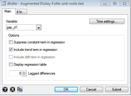 Figure 4: Dialogue Box for Augmented Dickey Fuller Unit root Test