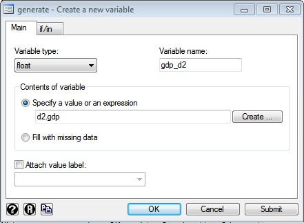Figure 6: Dialogue box for creating a new variable