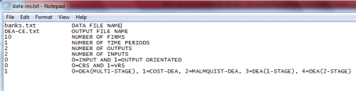 Instructions file in Notepad for cost DEA