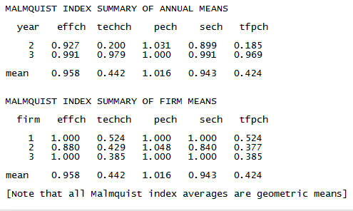Malmquist index for annual and firm means from input oriented Malmquist DEA