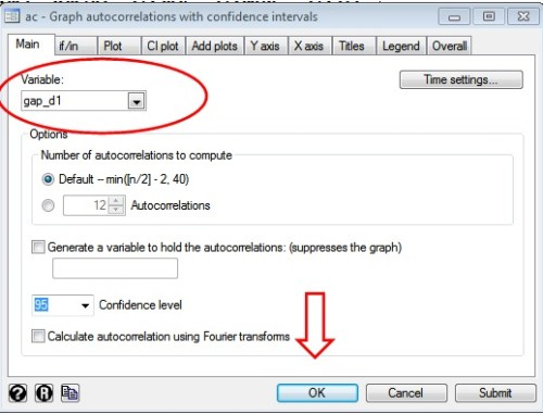 Figure 2: Dialogue box for autocorrelation (acf) graphs