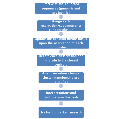 Steps of unsupervised machine learning in Bioinformatics research