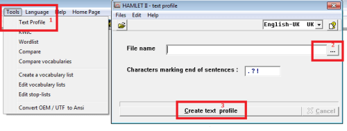 Steps to create text profile