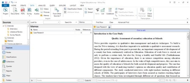 Figure 4: Imported folders as memo in Nvivo