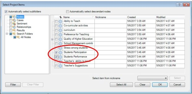 Figure 4: Dialogue box representing concerned codes