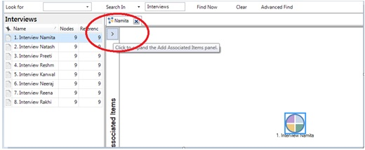 Figure 14: Selecting other associated items in project map