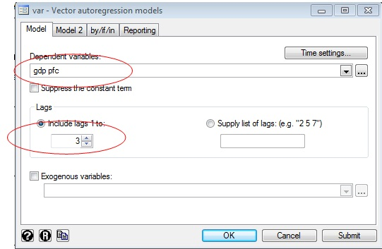 Figure 11: Dialogue box for VAR in STATA