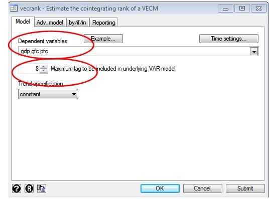 Figure 2: Vecrank window on STATA for Johansen co-integration analysis in VAR model with three variables