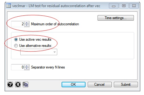 Figure 2: LM test for residual autocorrelation window for testing diagnosing VECM in STATA