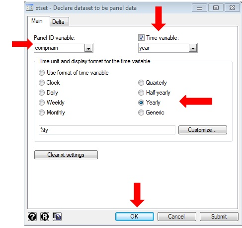 Figure 4: Declaring panel dataset for conducting panel data analysis in STATA