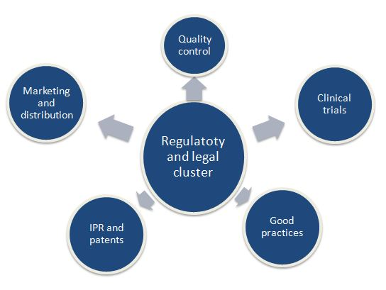The main functions of the regulatory and legal cluster