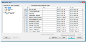 Figure 10: Select Project Items for Framework Matrices in Nvivo