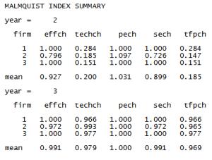 Malmquist index summary from input oriented Malmquist DEA