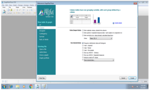 Selection of table (GraphPad Software Inc, 2012)