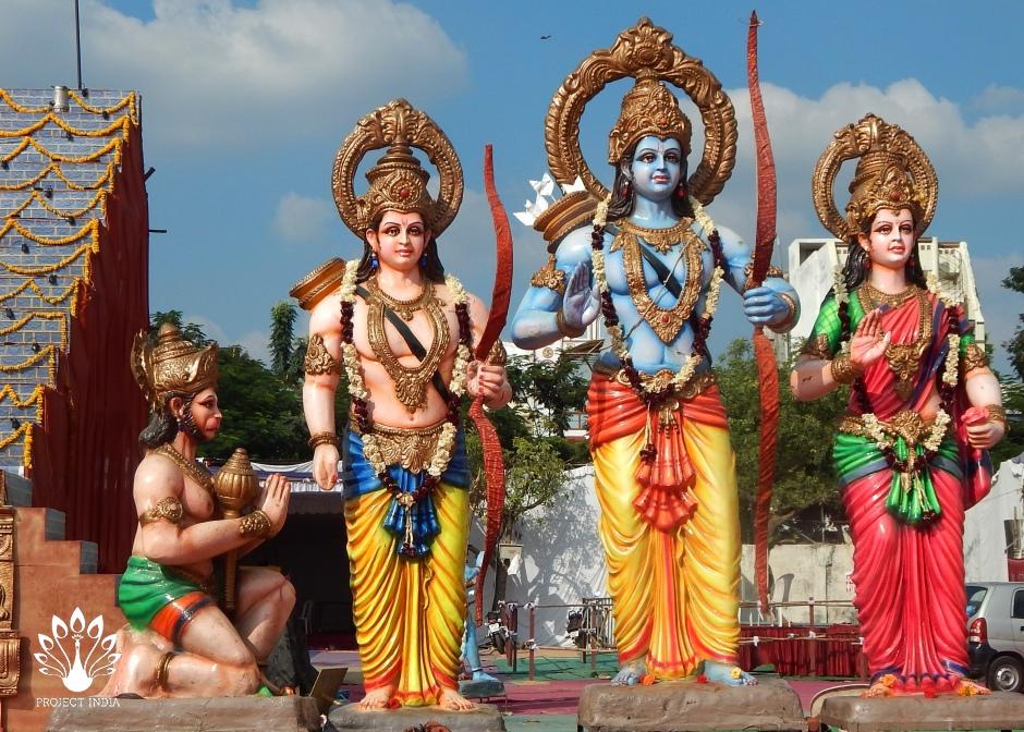 Dei Hindu: Sri Rama con Sita, lakshmana e Hanuman in Hyderabad,India