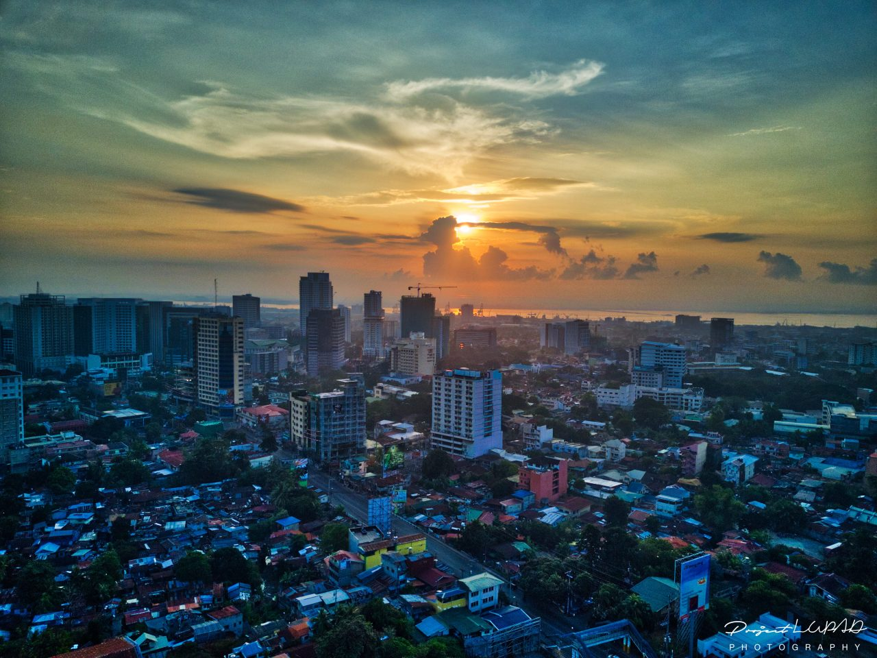 Spectacular Golden Hour Aerial View of Cebu City