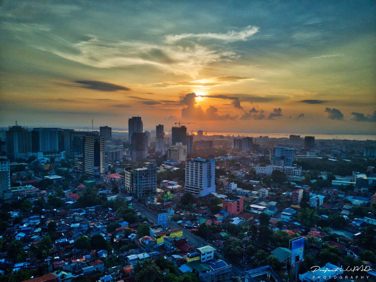 Spectacular Golden Hour Aerial View of Cebu City